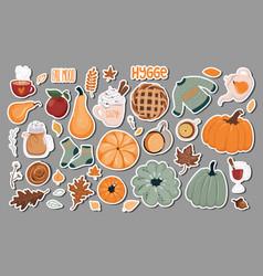 Set thanksgiving autumn cozy stickers badges vector