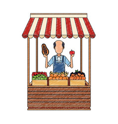 Shopkeeper with grocery stand scribble vector