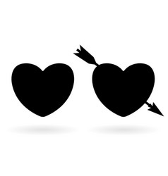 silhouette black heart with arrow icon vector image