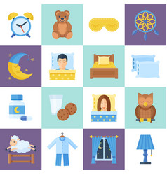 Sleeping rest time object set vector