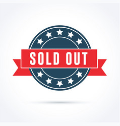 Sold out banner with red ribbon and stars vector