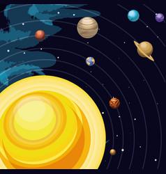 Space with sun universe scene vector