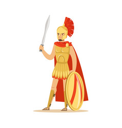 spartan warrior character in armor and red cape vector image