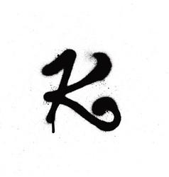 sprayed k font graffiti with leak in black vector image