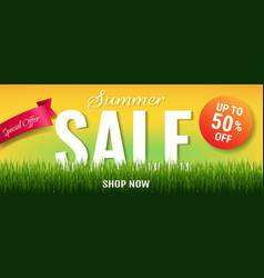 Summer sale with label and grass vector