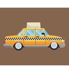 Taxi car side view with publicity brown background vector