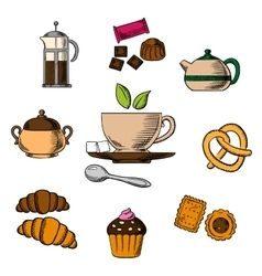 Tea bakery and pastry objects vector image