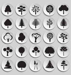 Trees icon set on plates background for graphic vector