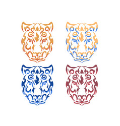 tribal snow leopard vector image