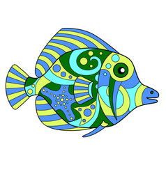Tropical fish - linear color vector