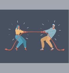 tug war people on dark vector image