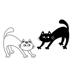 two frightened cat arch back kitten set black vector image