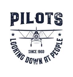 Vintage airplane emblem pilots looking down vector