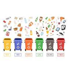 waste management concept segregation separation vector image