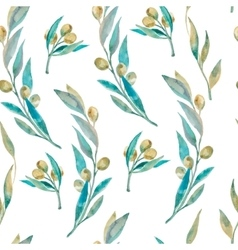 Watercolor green olive pattern Olive branche vector image