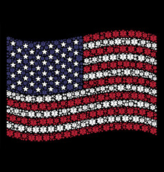 Waving united states flag stylization of life star vector