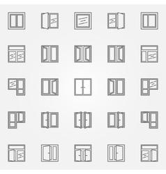 Window icons set vector image