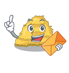 With envelope hay bale character cartoon vector