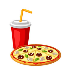 with fast food meal soda and pizza vector image