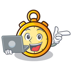 With laptop chronometer character cartoon style vector