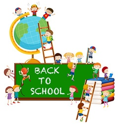 Back to school theme with kids and globe vector image vector image