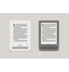E-book reader or tablet computer mockup black and vector