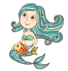 Mermaid with fish isolated on white vector image