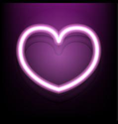 neon heart on dark pink background vector image vector image