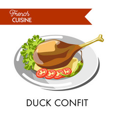 tasty duck confit from french cuisine isolated vector image