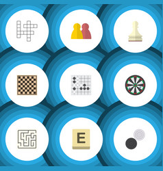 flat icon play set of arrow mahjong gomoku and vector image vector image