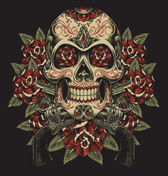 skull and roses with revolvers tattoo vector image vector image