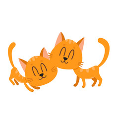 two cute and funny sweet red cat characters vector image vector image