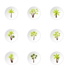 Different palm icons set flat style vector