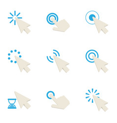 hand cursor icons set cartoon style vector image vector image