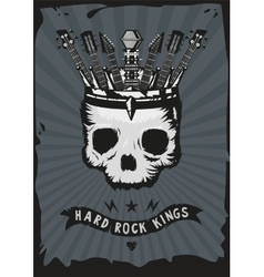 Hard rock king grunge music poster skull with a vector