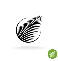 Palm leaf black silhouette logo icon in a round vector image