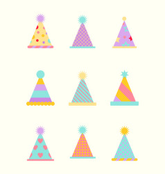 party hat set isolated on a white vector image vector image