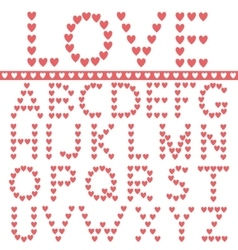 Red hearts alphabet vector image vector image