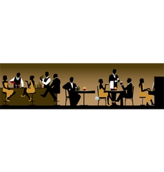 Silhouettes of a group of people in a restaurant vector image