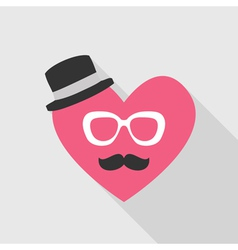 Valentines Day Card - with Heart Face Mustache vector image