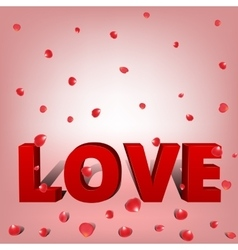 word love with petals vector image vector image