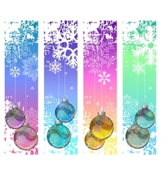 Four abstract vertical winter banners with balls vector image vector image