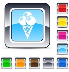 icecream square button vector image vector image