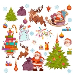 Merry Christmas icon set with Santa Claus pine vector image vector image