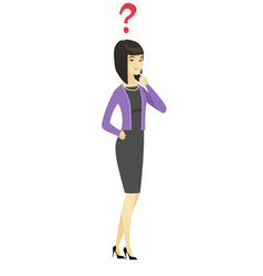 thinking business woman with question mark vector image vector image