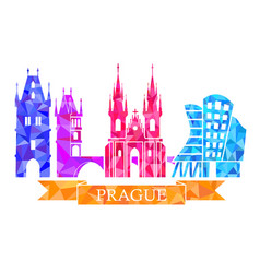 traditional symbols of prague in the polygonal vector image vector image