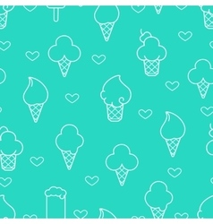 White line ice cream icons vector image