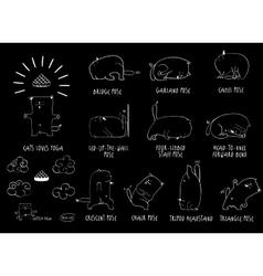 Yoga cat set vector
