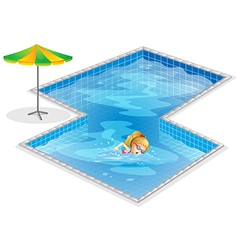 A girl swimming at the pool vector image