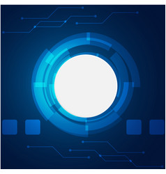 abstract technology white circle blue background v vector image